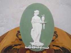 Wedgwood Green Jasperware Priestess Sacrifice Figure Large Oval Plaque (c. 1780s)