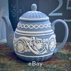 Wedgwood JASPERWARE Blue and White Relief 250th Anniversary TEA POT