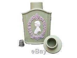 Wedgwood Jasper Tea Caddy Tri-Colour Jasperware Green Lilac White Royal Wedding