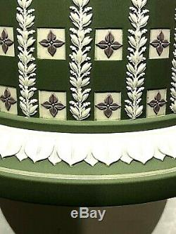 Wedgwood Jasper Tricolor Diceware Tobacco Jar Sage Green Lilac Quatrefoils
