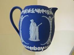 Wedgwood Jasper Ware Cobalt Blue Muses 5 Orange Jug (c. 1920)