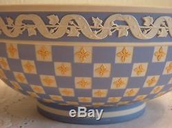 Wedgwood Jasper Ware Tri-Coloured (yellowithblue/white) diced footed bowl