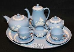 Wedgwood Jasperware 12 Piece Miniature Tea Coffee Set On Tray