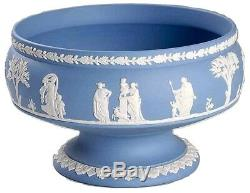 Wedgwood Jasperware 8 Round Footed COMPOTE Imperial BLUE MADE IN ENGLAND