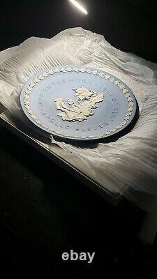 Wedgwood Jasperware Blue Apollo 11 Moon 8 Plate Original Box 1969 Vintage Rare
