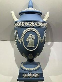 Wedgwood Jasperware Blue Covered Vase Urn with Melpomene & Erato (40) NOS NEW