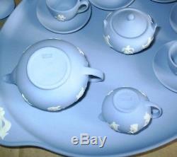 Wedgwood Jasperware Blue Miniature Dancing Hours Tea Set & Tray