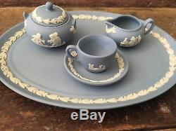 Wedgwood Jasperware Blue Miniature Tea & Coffee Set Made in England