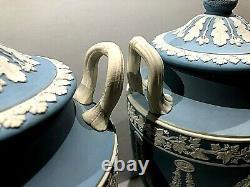 Wedgwood Jasperware Blue Urn (pair) Urns Dated 1931 Stunning Muses 10 X 5