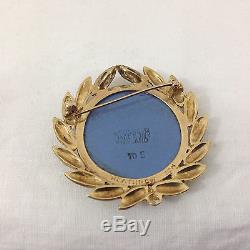 Wedgwood Jasperware Cameo 10K Gold Brooch ORT Gear Logo