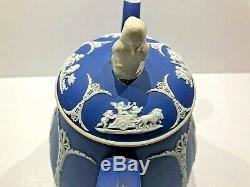 Wedgwood Jasperware Cobalt Large Teapot With Widower Finial C. 1873 Stunning
