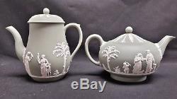 Wedgwood Jasperware Cream on Celadon Tea Coffee Jug Creamer Sugar 12 Pieces