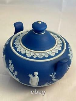 Wedgwood Jasperware Cream on Royal Blue 4 Piece Tea Set Free Shipping