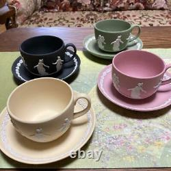 Wedgwood Jasperware Dancing Hours 4 set Cup & Saucer Black Yellow Pink Green
