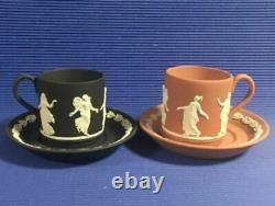 Wedgwood Jasperware Dancing Hours Cup & Saucer 8 Colors Complete With Box Rare
