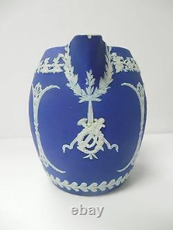 Wedgwood Jasperware Dip Dark Cobalt Blue Orange Jug Pitcher 1891-1908 Antique