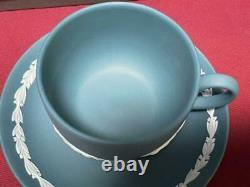 Wedgwood Jasperware Emerald Green Blue 2 Cup & Saucer White Horse Limited 2000