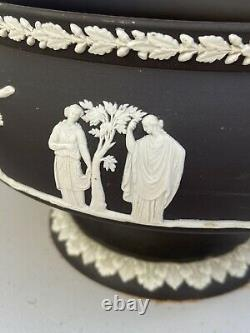 Wedgwood Jasperware Footed Bowl Black with White Bas Relief 5 X 8