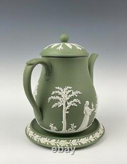 Wedgwood Jasperware Green Teapot & Trivet Excellent Condition