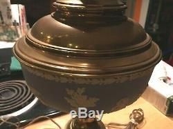 Wedgwood Jasperware Huge 38 x 9 Pale Blue Pair of Working Brass Lamps NICE