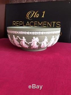 Wedgwood Jasperware Large 10.25 x 4.25 Sage Green Dancing Hours Sacrifice Bowl