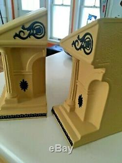 Wedgwood Jasperware Library Collection Bookends Black Basalt Cane Yellow NICE