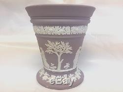 Wedgwood Jasperware Lilac Flower Vase With Frog Insert 4 7/8 Tall