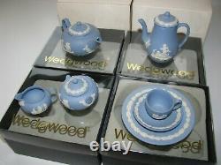 Wedgwood Jasperware Miniature Tea Set Blue in Original Boxes -Fabulous