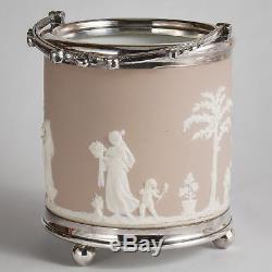 Wedgwood Jasperware Pale Lilac Biscuit Barrel Cookie Jar Classical Figures c1900