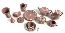 Wedgwood Jasperware Pink Mini Tea Coffee Set In Original Boxes! 15 Pieces WOW