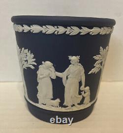 Wedgwood Jasperware Portland Blue Garden Pot / Jardiniere- 3 1/8 Tall