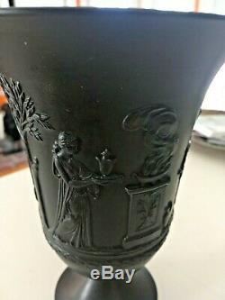 Wedgwood Jasperware RARE Large Grecian 7 Wide Mouth Black Basalt Vase NICE