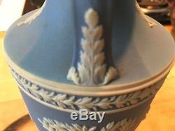 Wedgwood Jasperware RARE Pale Blue 8 Urn Vase Trophy Handles Pre-1890 NICE