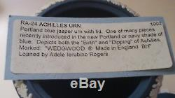 Wedgwood Jasperware RARE Portland Blue 8.5 Achilles Urn Acorn finial lid Nice