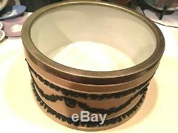 Wedgwood Jasperware RARE Tricolor Yellow Buff 9 Silver Rim Sacrifice Bowl NICE