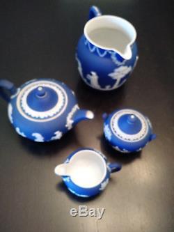Wedgwood Jasperware Royal Blue Tea Set and Pitcher