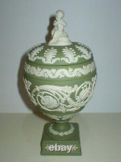 Wedgwood Jasperware Sage Green Arabesque Lidded Vase Urn Cherub Finial Boxed