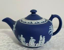 Wedgwood Jasperware Teapot Jug/bowl Cobalt Blue/white C1920s