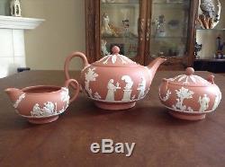 Wedgwood Jasperware Terra Cotta 17pc Tea Set TeaPot Creamer Sugar 6 Cup & saucer