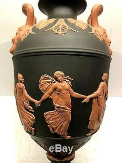 Wedgwood Jasperware Terra Cotta On Black Dancing Hours 10.5 Lidded Urn New