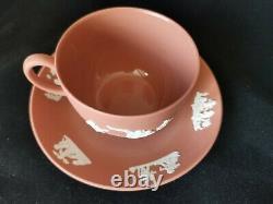 Wedgwood Jasperware Terracotta tea cup and saucer, glazed