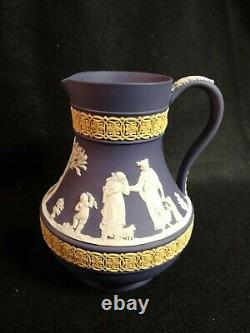 Wedgwood Jasperware Tri-Color TriColor Pitcher Blue/White/Yellow
