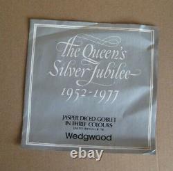Wedgwood Jasperware Tri Coloured Diced Ware Royal Goblet Boxed