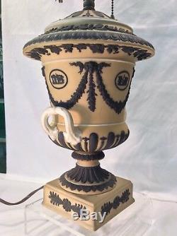Wedgwood Jasperware Urn Lamp in Yellow Buff & Black, 24 Tall, Circa 1885-1930
