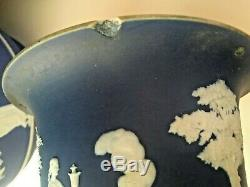 Wedgwood Jasperware Vintage RARE 7 Dark Blue Dip Hanging Planter Pre1890 NICE