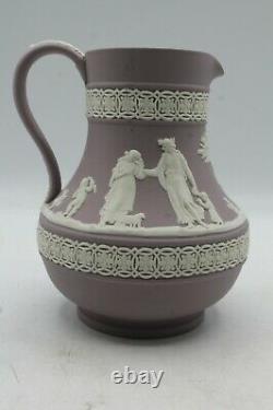 Wedgwood Jasperware White On Lilac Etruscan Jug Pitcher 5