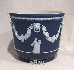 Wedgwood Large 7 Dark Blue Jasperware Cache Pot