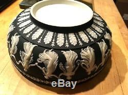 Wedgwood Large Black Dip Jasperware Lg 10.25 Sacrifice Bowl Dancing Hours Nice