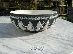 Wedgwood Large Black Jasperware Bowl 10.25 in. Sacrifice Bowl Dancing Hours