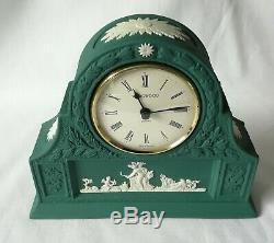 Wedgwood Laurel Clock Spruce Green Jasperware mantel clock